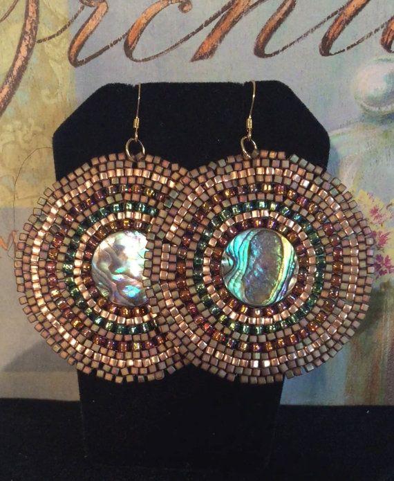 Orecchini perline - grandi orecchini conchiglia di Abalone Seed Bead disco - gioielli di perline fatti a mano
