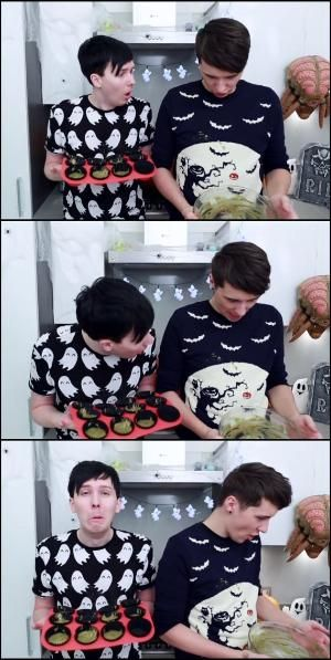 How cute Phil is! I like how Phil makes that face rather than blaming Dan. It's so adorable. Amazing Phil / Phil Lester / danisnotonfire / Dan Howell by adrienne