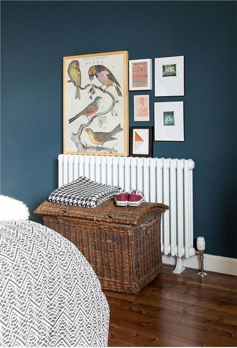 Farrow and Ball's HAGUE BLUE looking rather splendid with the lovely mid-brown wood floor.