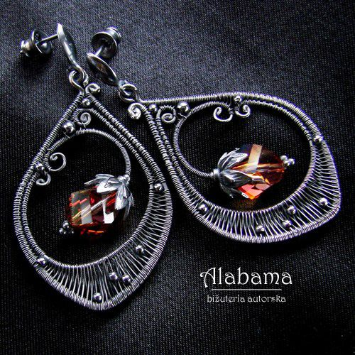 "Earrings | ALABAMA Designs.  ""Ice tea"".  Sterling silver wire combined with Swarovski crystals."