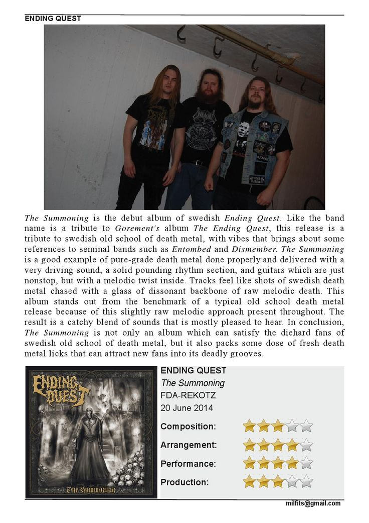 """Ending Quest  """"The Summoning"""" Review (Milfits 'zine, issue#3)"""