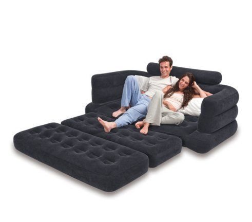 Pull Out Sofa Bed Mattress Sleeper Comfort Convenience Great Looks Dark Grey - Inflatable Mattresses, Airbeds