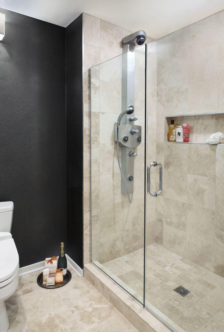 Contemporary condo bath modern bathroom chicago by jill jordan - Residence 1 Contemporary Master Bathroom With Glass Walk In Enclosed Shower Designed