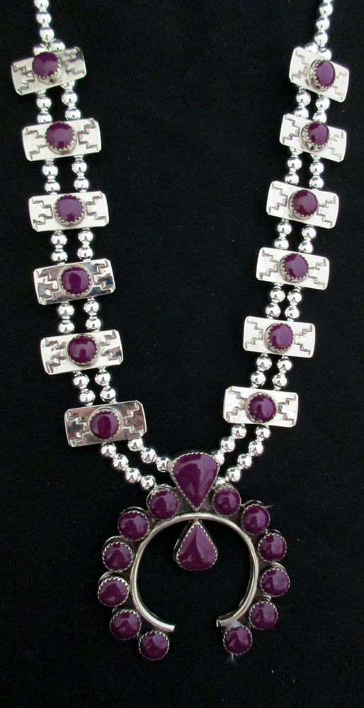 Navajo Silver and Sugilite Squash Blossom Necklace SIGNED B. Double Strand *958 in Jewelry & Watches, Ethnic, Regional & Tribal, Native American | eBay