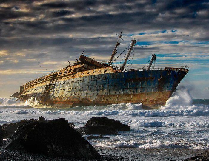 The SS America, abandoned in Fuerteventura, Canary Islands which was wrecked in 1994.