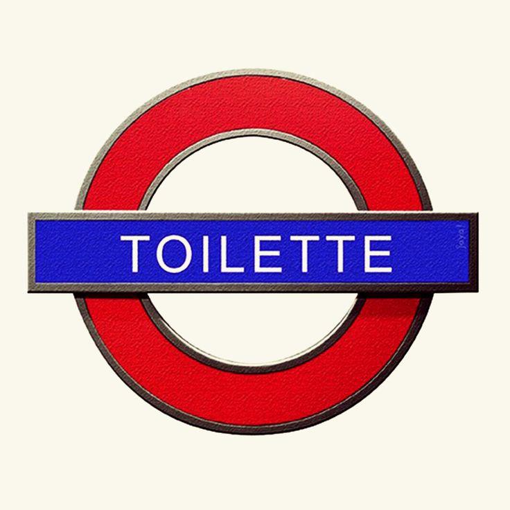 placa decorativa toilette metrô underground london - decoração jaya!