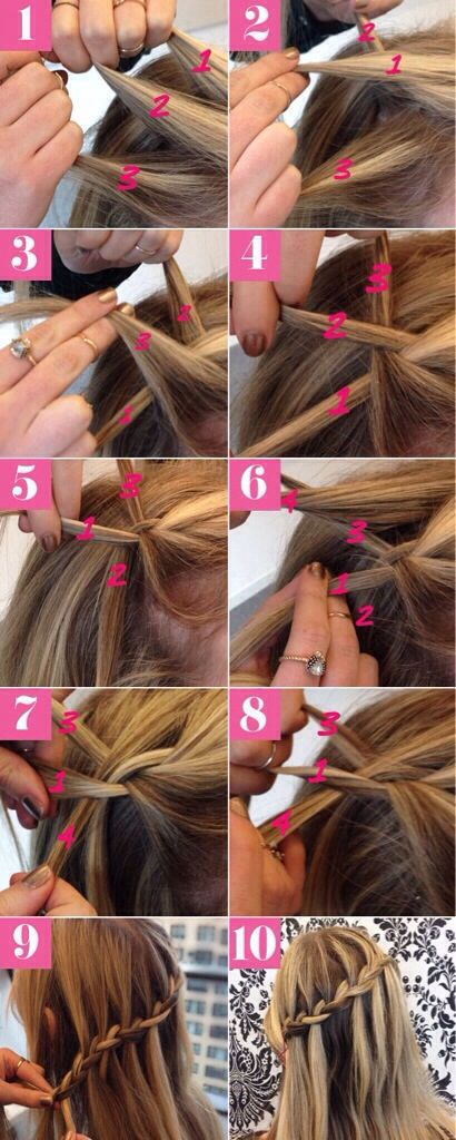 waterfall braid tutorial girls wedding hair