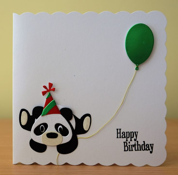 Handmade Birthday Card - Marianne Collectables Panda Die. For more of my cards please visit the CraftyCardStudio on Etsy.com.
