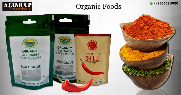 #Organicfoods are made according to certain production standards. #Standuppouches are made from structures ranging from #foil, #superclear, metalized film and Mylar.