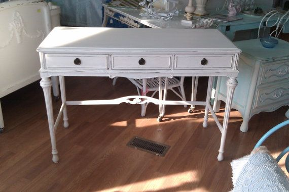antique desk shabby chic white distressed by VintageChicFurniture, $395.00