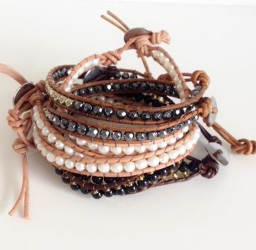 Boho beach leather and pearl natural resort island festival ethnic stone wrapbracelets by Kokomoi.nl