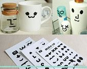 Create Your Own Emoticon Sticker Set // Party Stickers, Funny Stickers, DIY Stickers, Eyes, Noses, Mouths, Emoticons // 3 Sheets, 72 Pcs