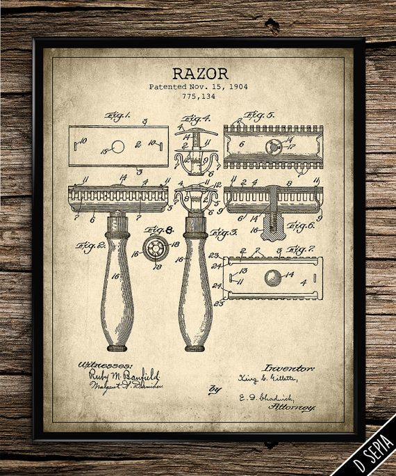 vintage patent gillette razor vintage prints patent prints bathroom decor home decor