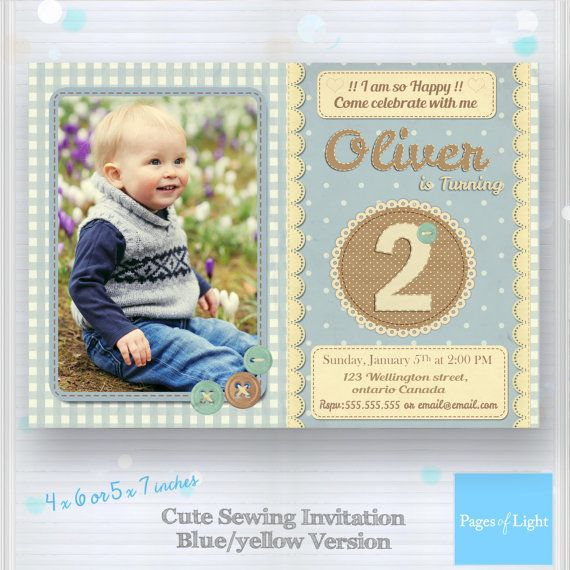 Button Birthday Invitation Cute Button Invitation  by PagesOfLight