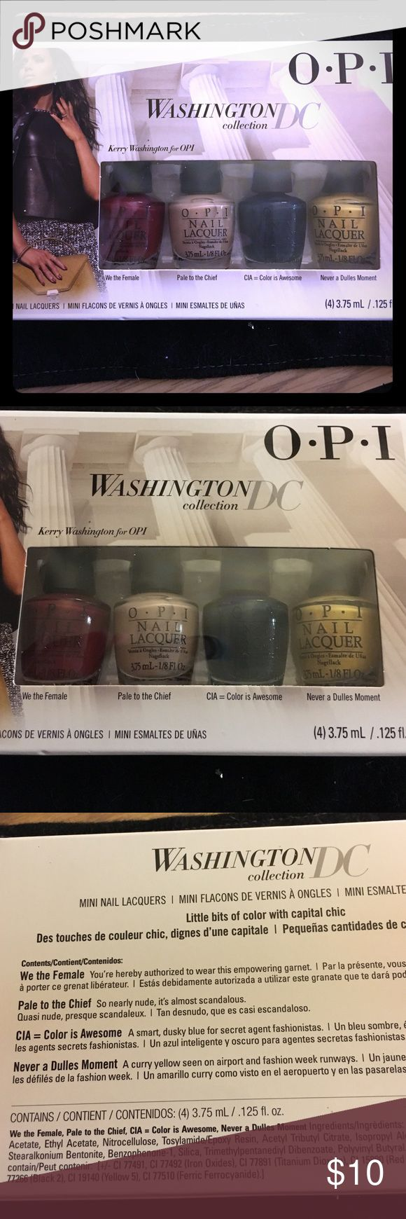 Opi Washington DC Gift Set Opi's Washington DC Mini Gift Set! Perfect gift for anyone, limited release! Includes: We the Female, Pale to the Chief, CIA = Color Is Awesome, and Never a Dulles Moment. Opi Other