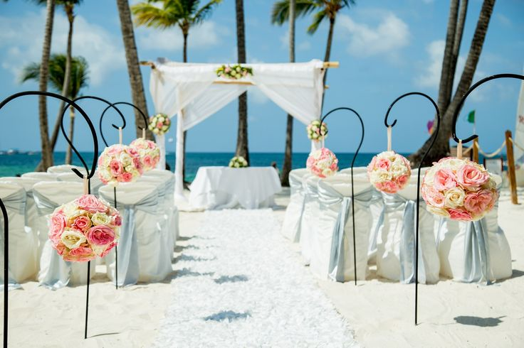 This Wedding Is Stunning In Whites And Pink Dreamspalmbeachpuntacana Dominicanrepublic Destinationwedding
