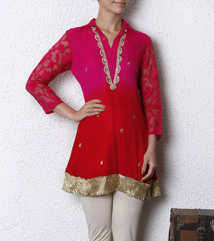 Pink & Red Georgette Tunic