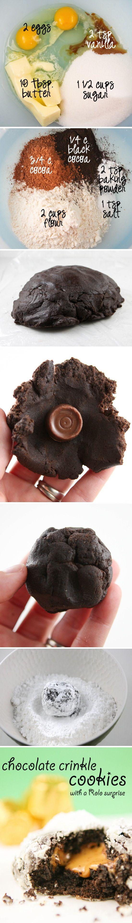 Chocolate Crinkle Rolo Cookies Desserts, Sweets, Crinkle Cookies ...