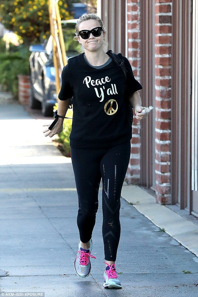 Busy lady: Reese Witherspoon was seen in her activewear  as she shopped around Brentwood on Monday