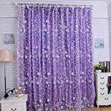AIHOME (TM)-Tulle, motivo Tenda plissettata per porta con finestra trasparente, sciarpe Valance Viola