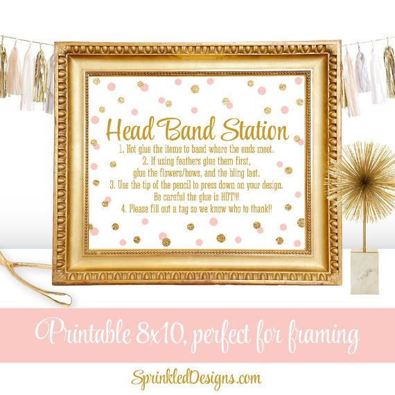 Headband Station Party Sign - Girl Birthday Party or Baby Shower Ideas - Blush Pink Gold Glitter - Printable 8x10 Sign - Big One