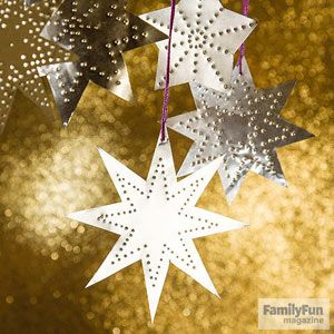 Creative Holiday Crafts for Kids: Shining Stars (via FamilyFun Magazine) Disposable foil pans, shapes cut out, newspaper underneath, and pushpin for designs...