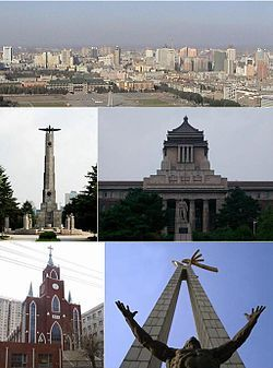 Clockwise from top: panoramic view from Ji Tower, Former Manchukuo State Department, Statue on cultural square, Changchun Christian Church, Soviet martyr monument.