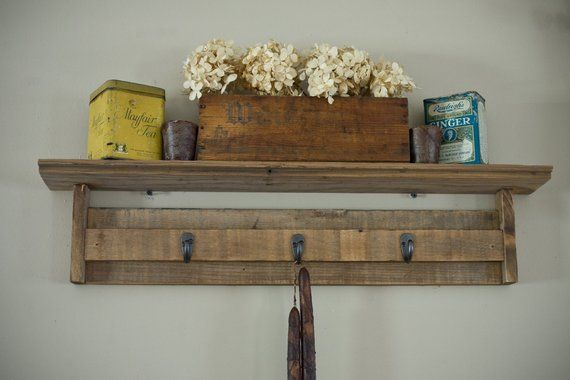 Reclaimed Barnwood Shelf With Hooks Barn Wood Projects Barnwood