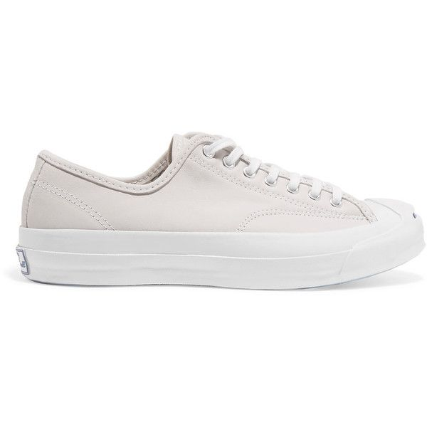 Converse Jack Purcell Signature leather sneakers ($85) ❤ liked on Polyvore featuring shoes, sneakers, white, converse sneakers, white sneakers, leather lace up sneakers, leather sneakers and white shoes