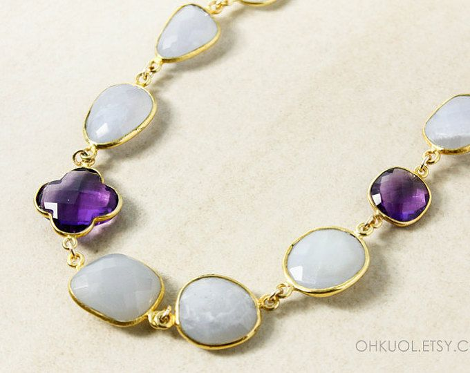 Gold Lavender-Grey Chalcedony Bib Necklace - Amethyst Clover Accent - Gold Filled