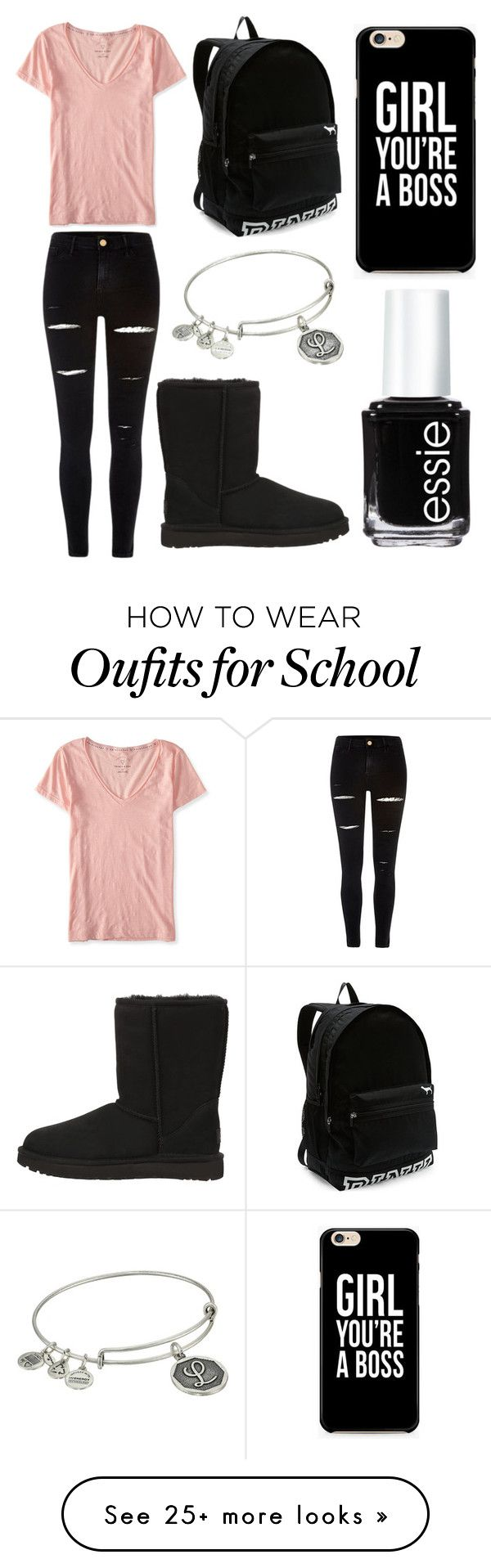 """Chill School Day"" by lfrye2080 on Polyvore featuring Aéropostale, River Island, UGG Australia, Victoria's Secret, Alex and Ani and Essie"