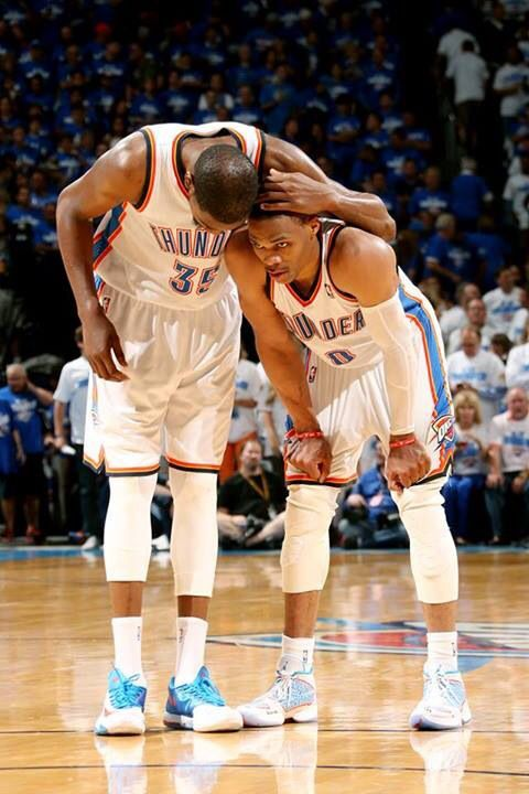 Western Conference Finals 2014: Game 4. Russell Westbrook and Kevin Durant #brothers #thunderUP