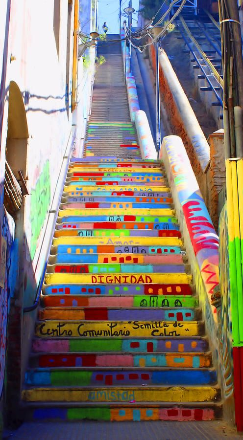 Colorful Outdoor Staircase in Valparaiso, Chile