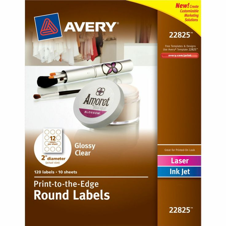 Avery 22825 glossy clear print to the edge round labels quill