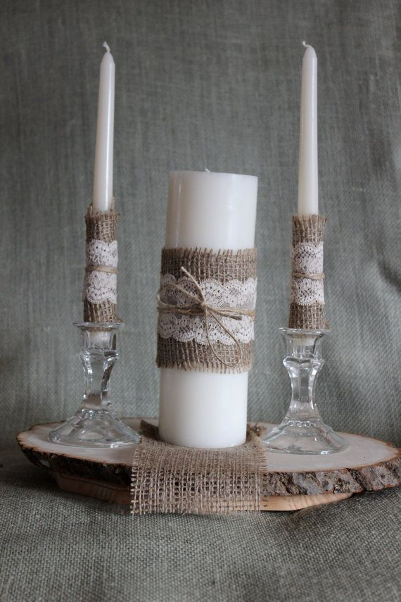 church wedding decorations candles%0A Rustic or shabby chic unity candle with jute twine  burlap  and hand tea  dyed lace accents  Main candle is   inches tall and unscented with accent