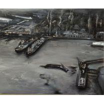 "Eleanor Bond, Santos Harbour, Brazil, 1997-2013. Oil on Plywood. 12 ""x 16"". Valued at $5,000"