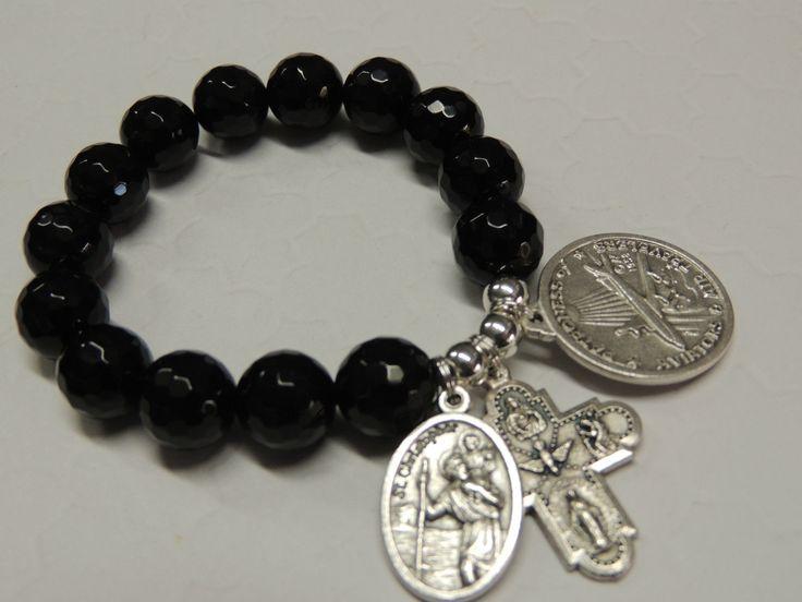 Saint Christopher Safe Travel Gemstone Bracelet