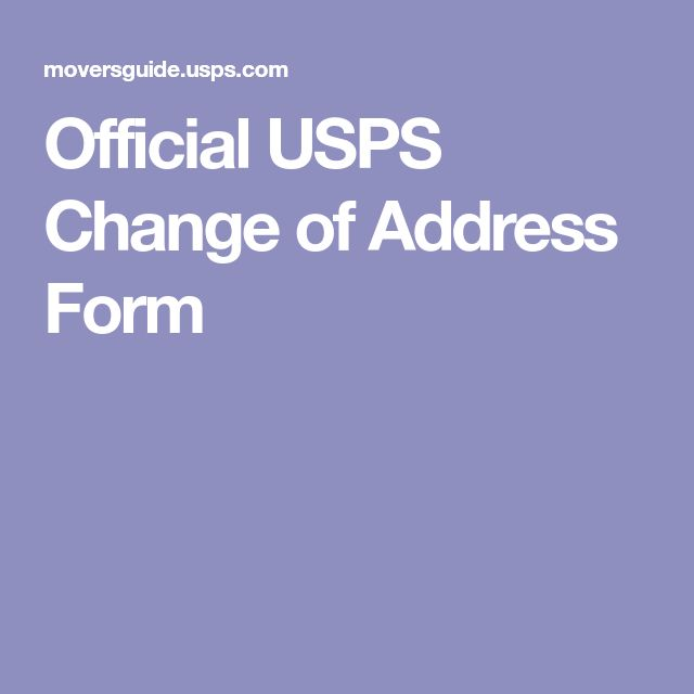 Official USPS Change of Address Form