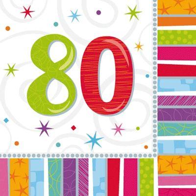 16 stuks servetten met 80 jaar opdruk. Formaat servetten: 33 x 33 cm. Deze 80 jaar servetten zijn 3-laags. Meer 80 jaar feestartikelen hebben wij in deze leeftijdversierings winkel.