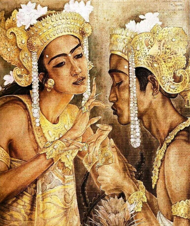 Balinese dancers...painted by Suteja Neka..in Ubud.