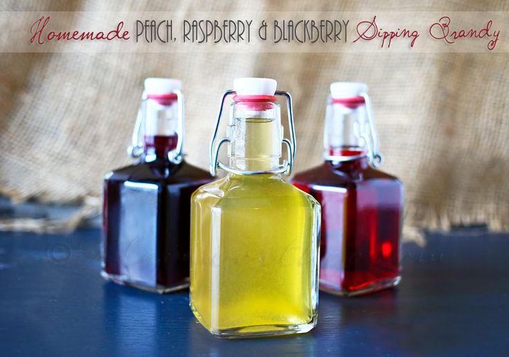 Homemade Sipping Brandy - Peach, Raspberry & Blackberry Sipping Brandy #homemadeliquors