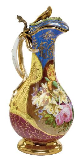 MARIA FELIX, JACOB PETIT PORCELAIN GILT-METAL MOUNTED POLYCHROME GROUND EWER AND COVER