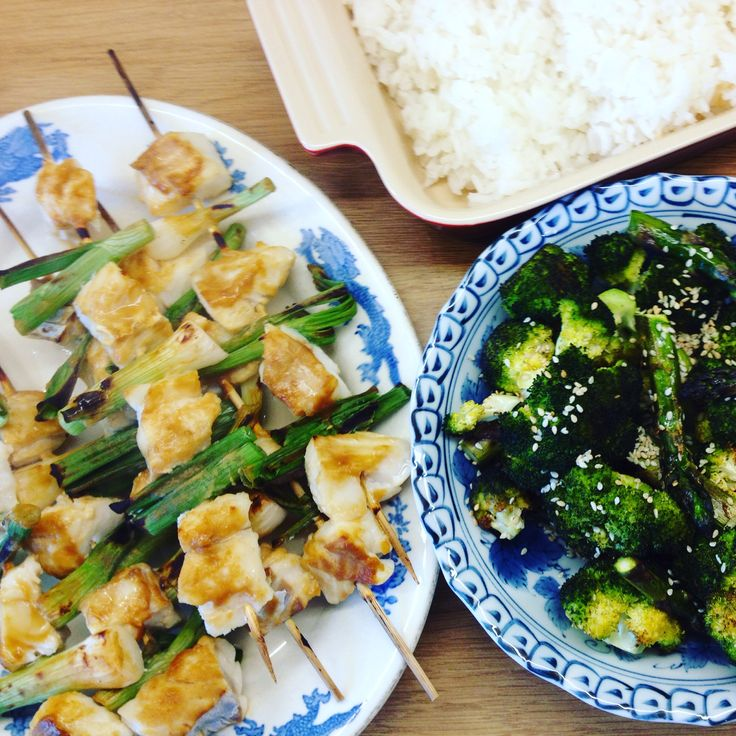Miso fish kebabs with roasted sesame broccoli and asparagus