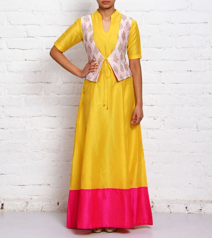 Yellow Hand Block Printed Cotton #Silk #Dress With #Jacket by #Astha &…