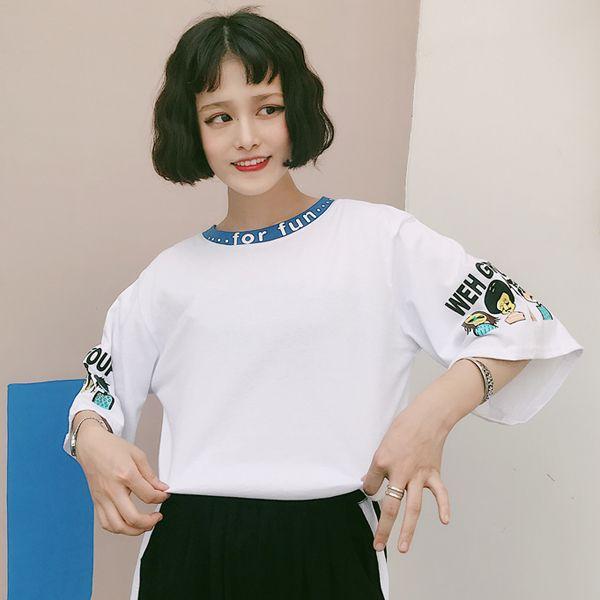 韓国 原宿 半袖 Tシャツ ロゴ キャラクター ファッション レディース カラフル ダンス 衣装