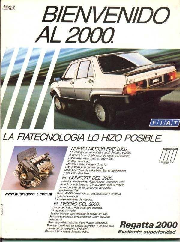 Publicidad gráfica Fiat Regatta motor 2000cc.