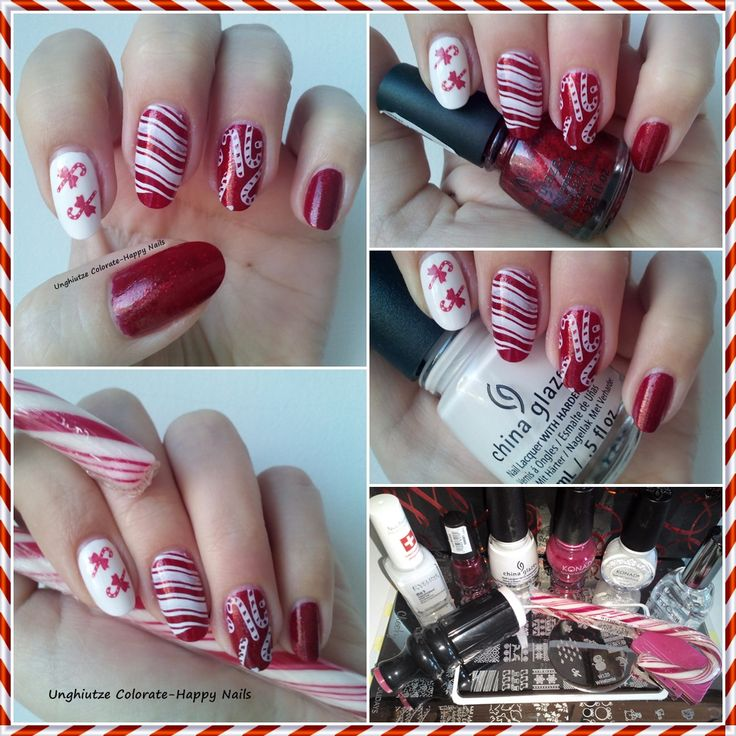 Unghiutze colorate-Happy nails: Autumn and Winter Holidays Challenge-7. Candy Canes