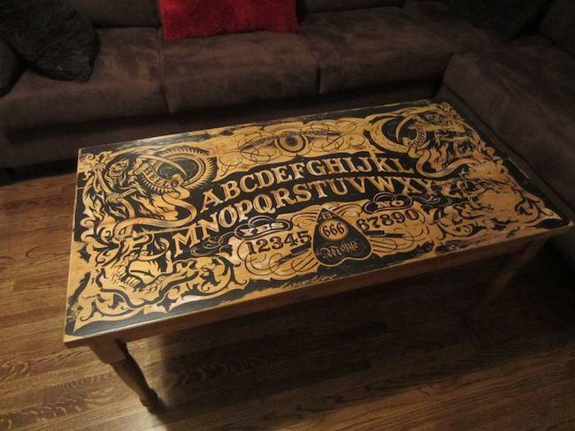 ouija board table finished Ouija Board Coffee Table I´m in love