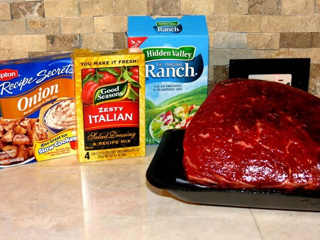 3 Packet Roast - 1 pkg Ranch Dressing, 1 pkg Italian Seasoning, 1 pkg Onion Soup mix. Mix with 1/2 cup water, pour over roast, cook on HIGH in crockpot all day. SO delicious, and so easy.