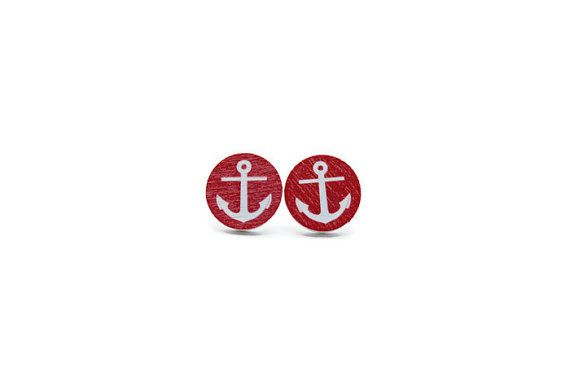Wooden Nautical Anchor Earrings in Red/ Nautical Earrings/ Anchor Studs/ Wood Earrings/ Red Earrings/ Hypoallergenic Earrings